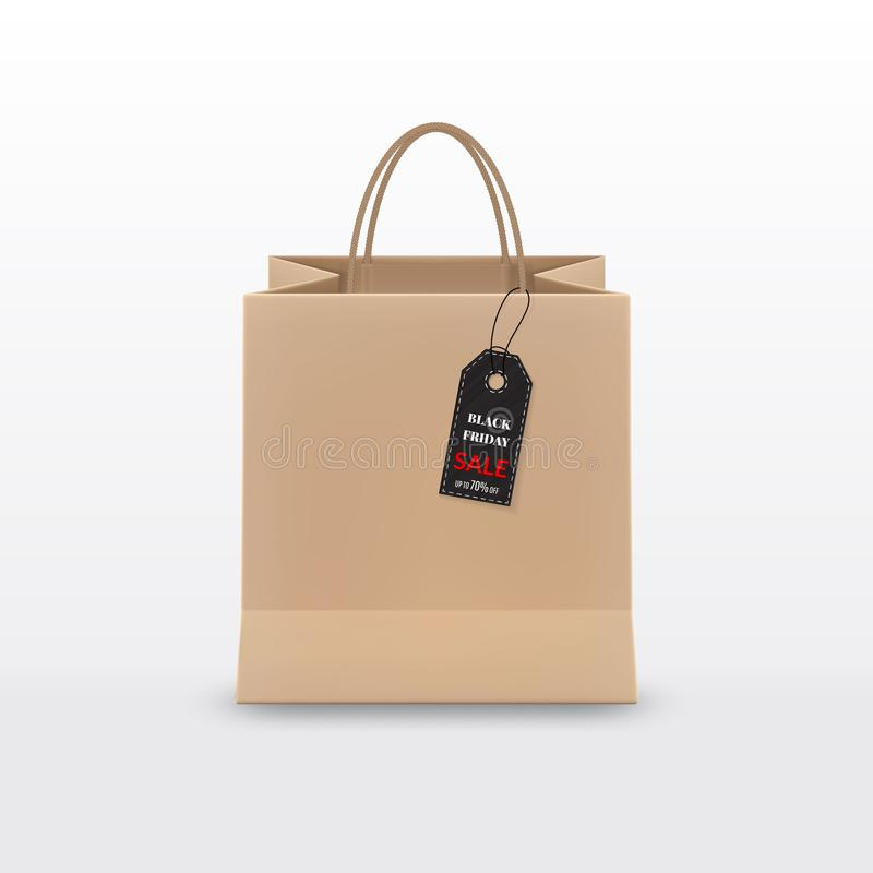 svart friday försäljning Realistisk shoppingpåse för brunt papper med handtag och den skraj etiketten som isoleras på vit bakgrun vektor illustrationer
