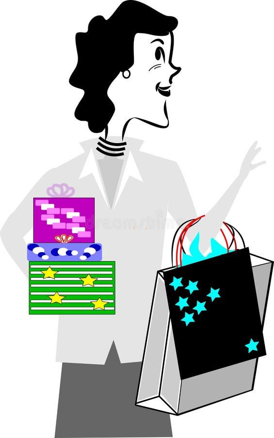 svart friday shoppare royaltyfri illustrationer