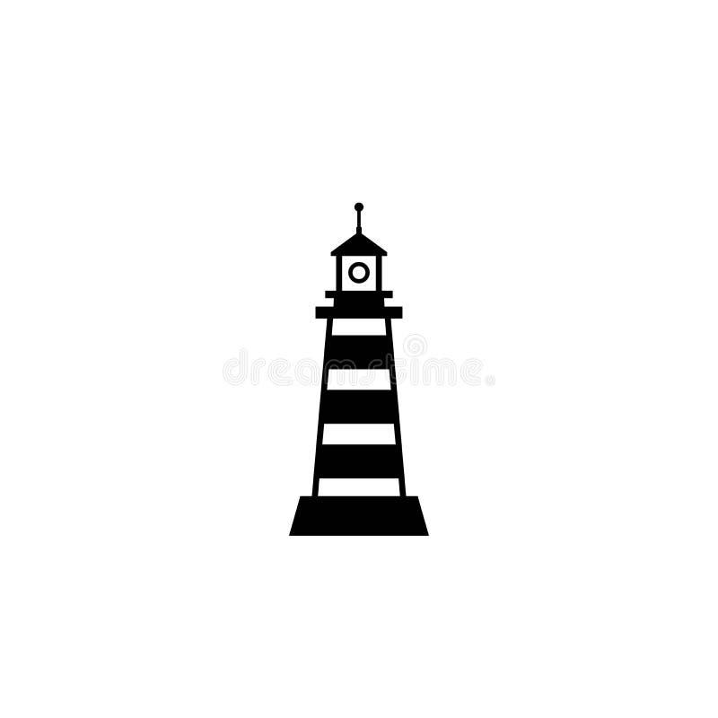 Svart fyr, ljust hus, fyrsymbol Nautiskt, maritimt, marin- sjö- symbol Enkel illustration för kust på blått stock illustrationer
