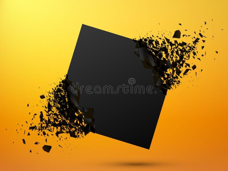 Svart fyrkant med skräp på gul bakgrund Abstrakt svart explosion royaltyfri illustrationer