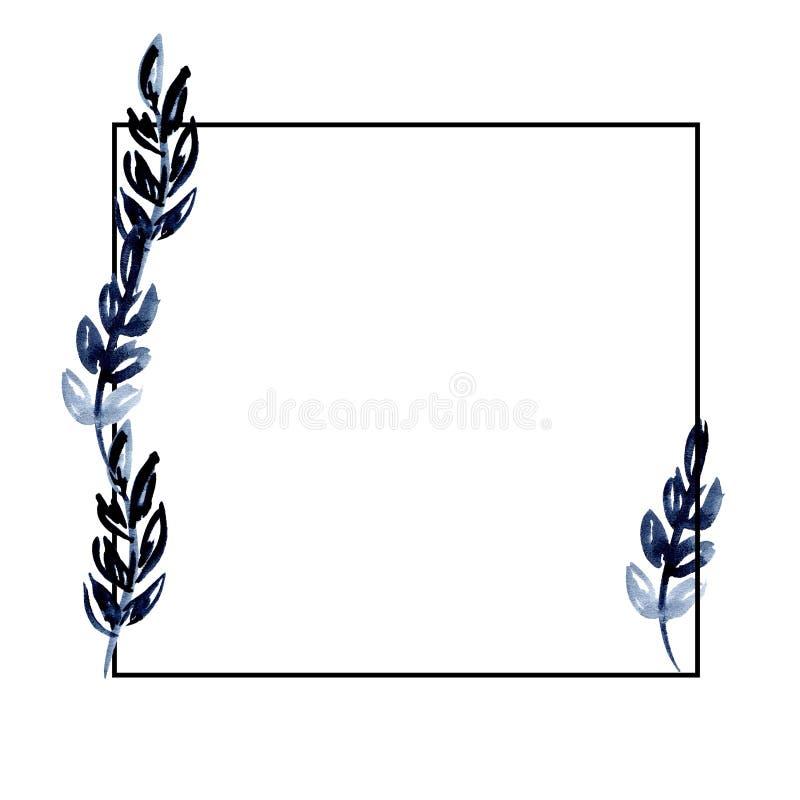 Svart fyrkantig ram för vattenfärgillustration med indigoblå sidor för design inbjudanbröllop, hälsningkort stock illustrationer
