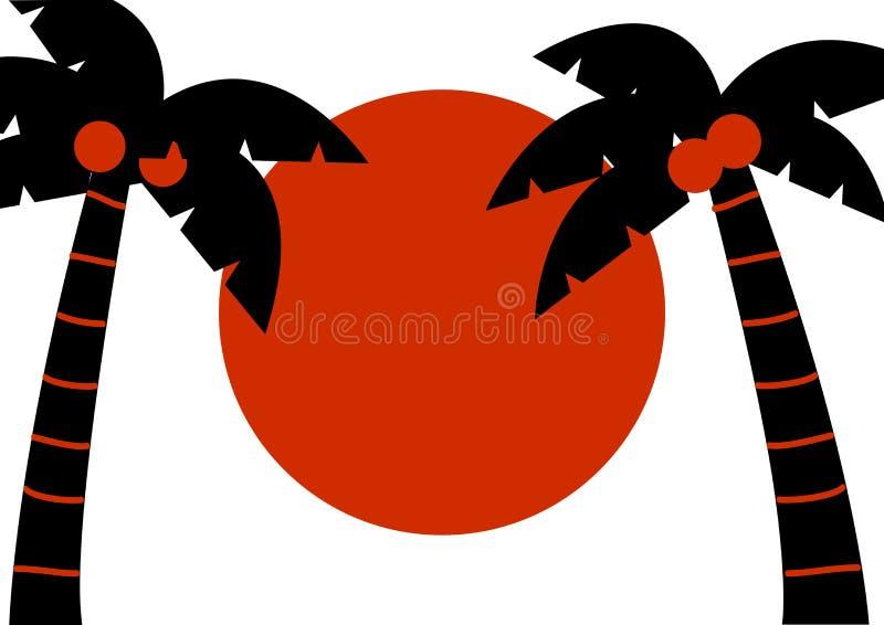 Svart gömma i handflatan med kokosnötter och den röda solen, tropisk bakgrund, vektor stock illustrationer