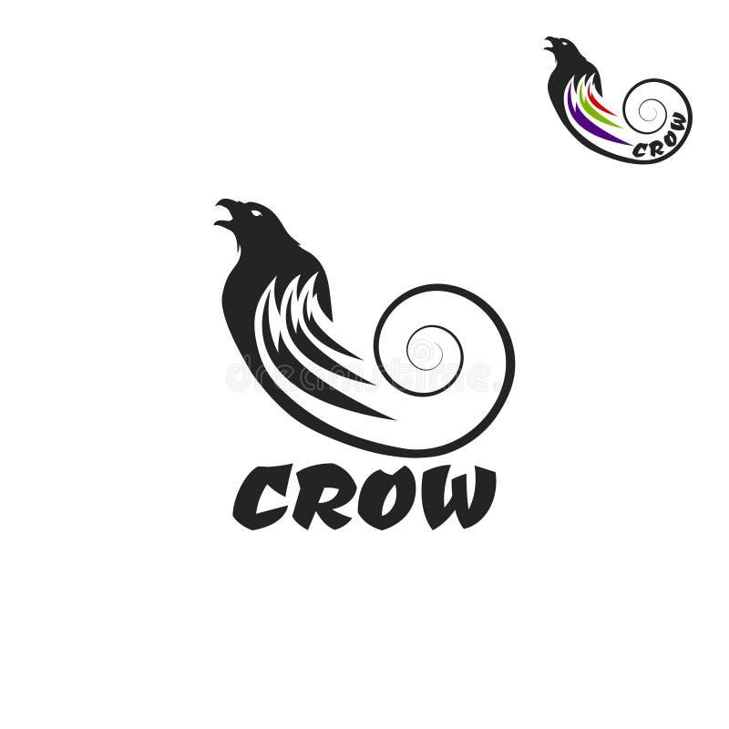 Svart galandelogo på en vit bakgrund Raven Isolated stock illustrationer