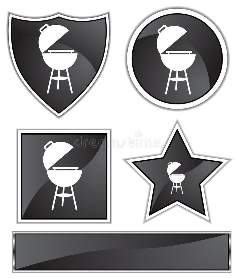 svart gallersatäng för bbq royaltyfri illustrationer