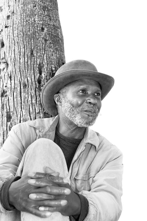 svart gammalare man royaltyfri fotografi