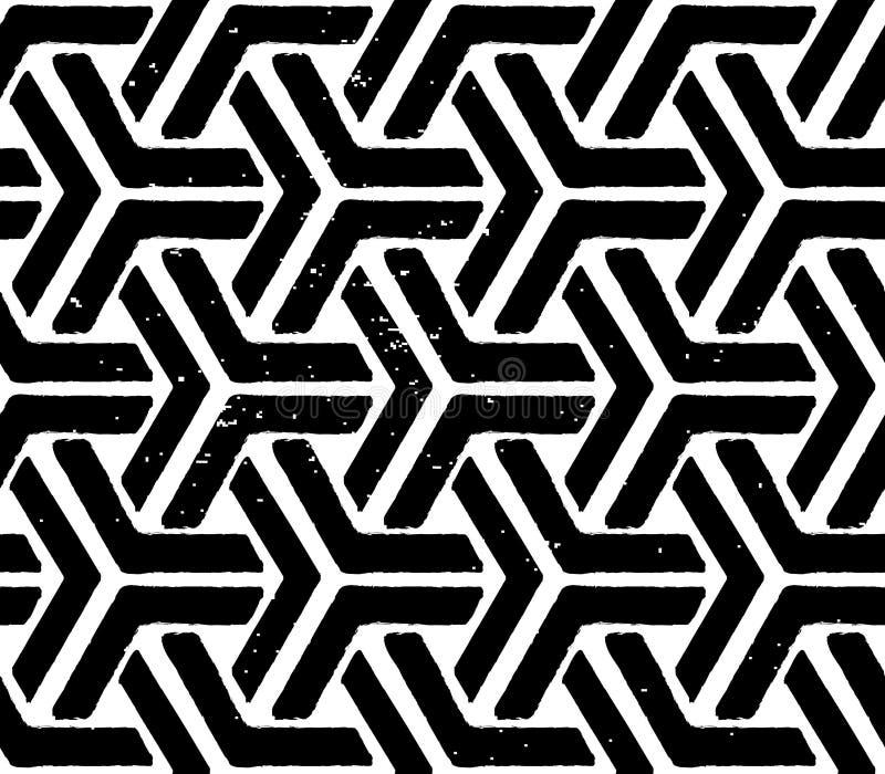 Svart geometriska seamless mönstrar royaltyfri illustrationer
