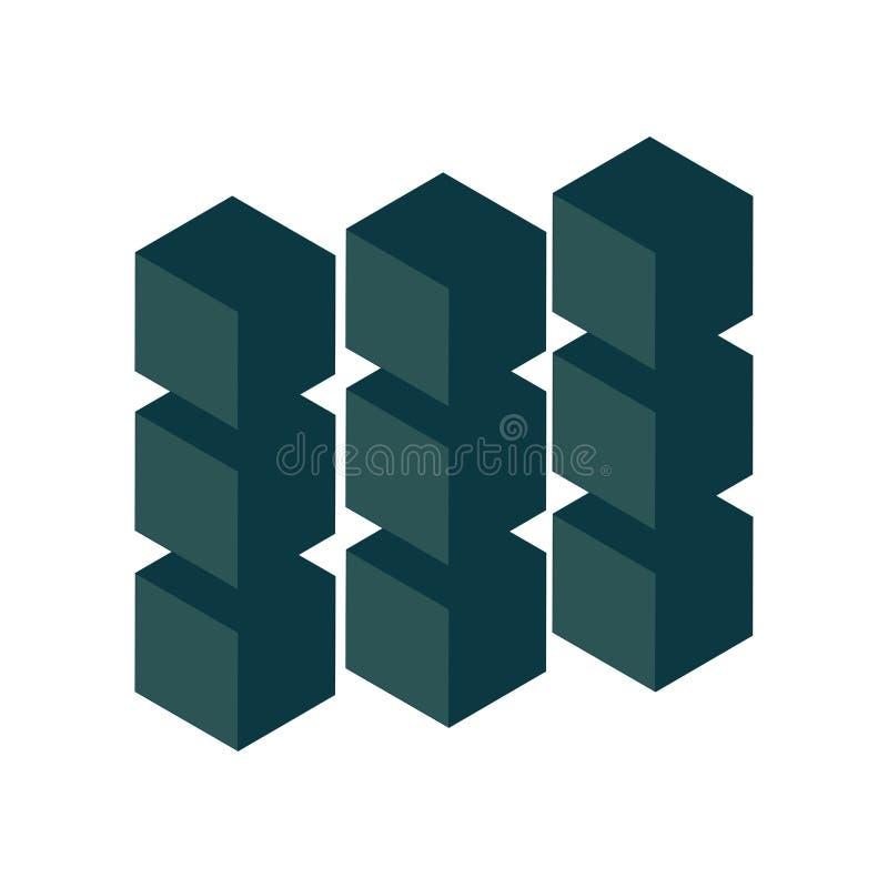 svart geometriskt abstrakt designelement Vetenskap eller konstruktionsbegrepp objekt för vektor 3d stock illustrationer