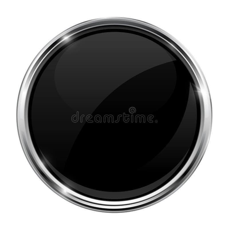Svart glass knapp Rund skinande symbol 3d med metallramen stock illustrationer