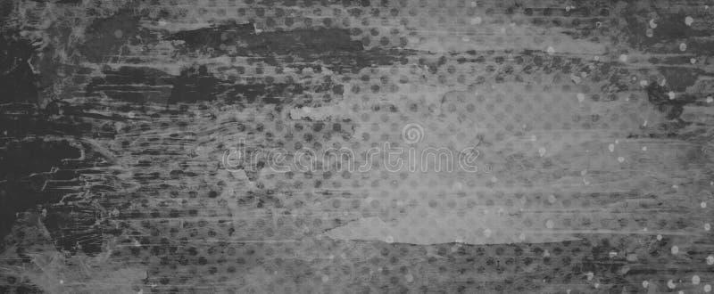 Svart grå och vit grungebakgrund med tjocka målarfärgsudd eller borsteslaglängder och bekymrad skadad prickrastermodell och arkivbild