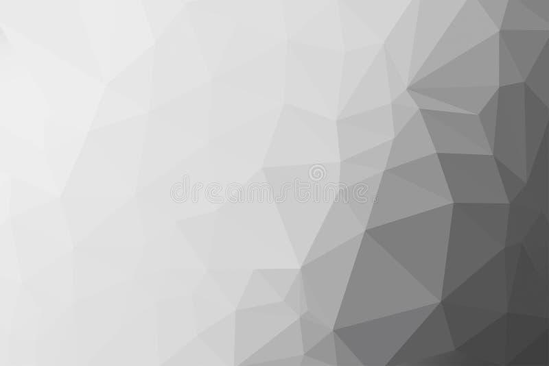 Svart, grå och vit lutningtriangelbakgrund, abstrakt polygonmodell arkivbild