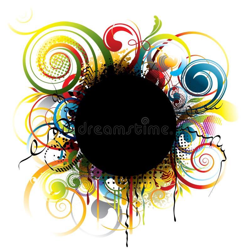 Svart grungefärgcirkel royaltyfri illustrationer