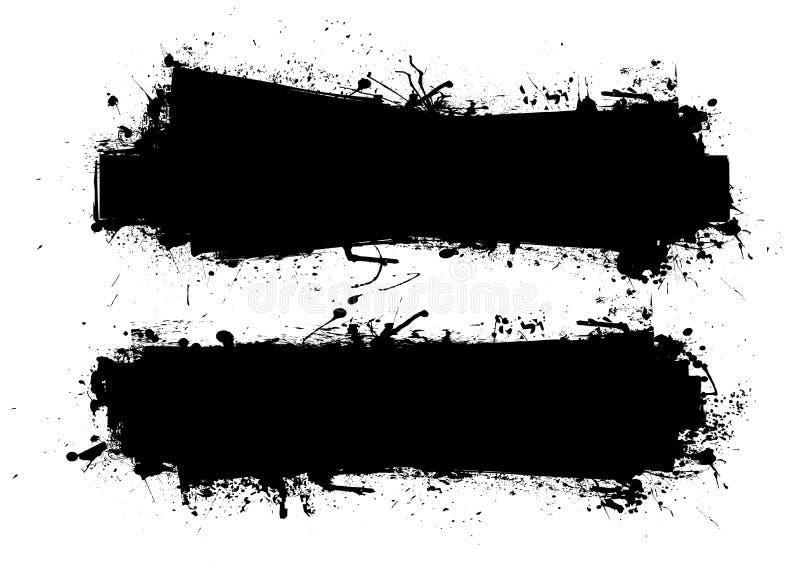 svart grungefärgpulver för baner vektor illustrationer