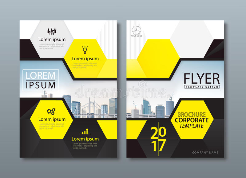 Svart gul design för årsrapportbroschyrreklamblad, broschyrräkning royaltyfri illustrationer