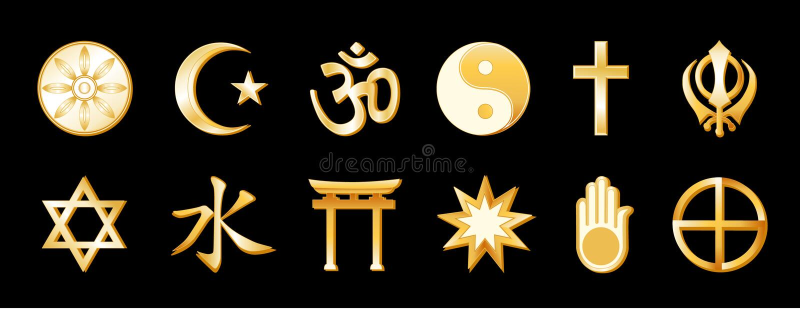 svart guldreligionvärld royaltyfri illustrationer