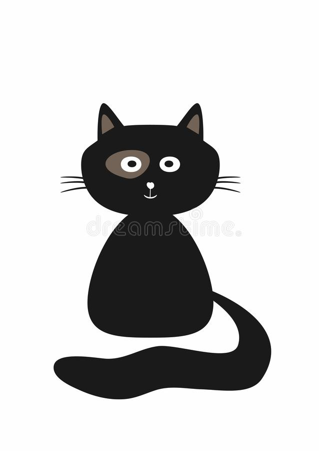 svart gullig kattunge Isolerad rolig katt vektor illustrationer