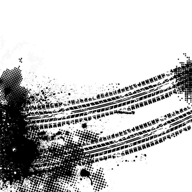 Svart gummihjulspår stock illustrationer