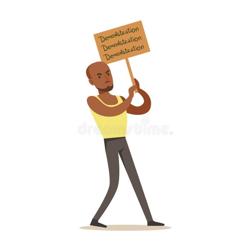 Svart GuyIn Sleeveless bästa marsch i protest med banret, skrika som är ilsket, protestera och begära politiska friheter royaltyfri illustrationer