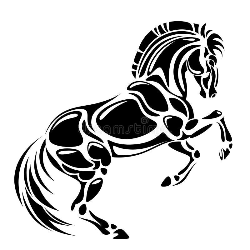 svart häst stock illustrationer