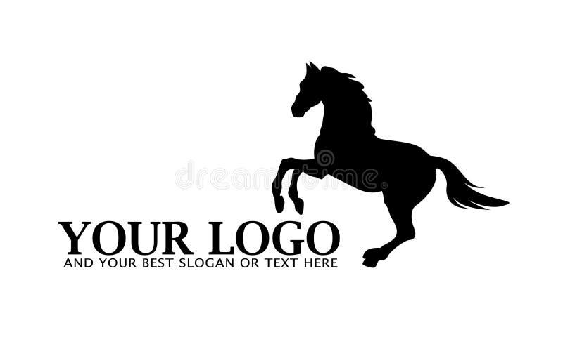 svart hästlogo stock illustrationer