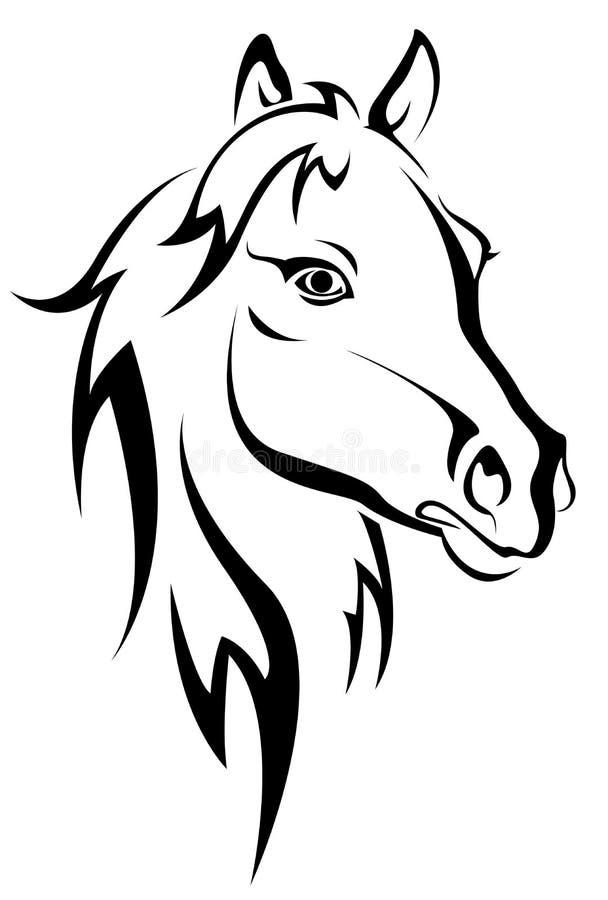 svart hästsilhouette royaltyfri illustrationer