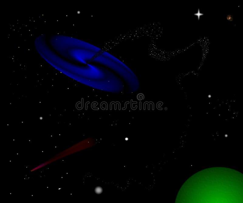 svart hål stock illustrationer