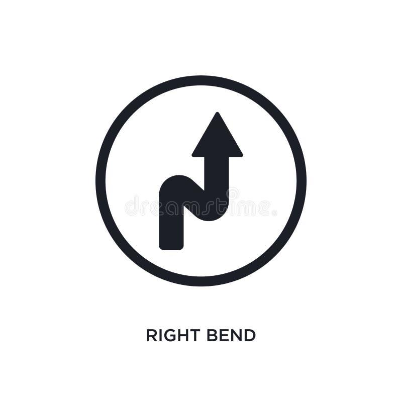 svart höger krökning isolerad vektorsymbol den enkla beståndsdelillustrationen från trafik undertecknar begreppsvektorsymboler re royaltyfri illustrationer