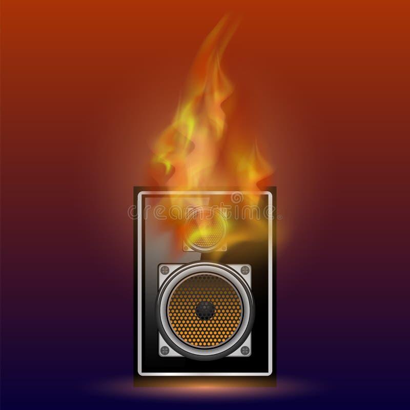 Svart högtalare för musikal och Firre flamma vektor illustrationer