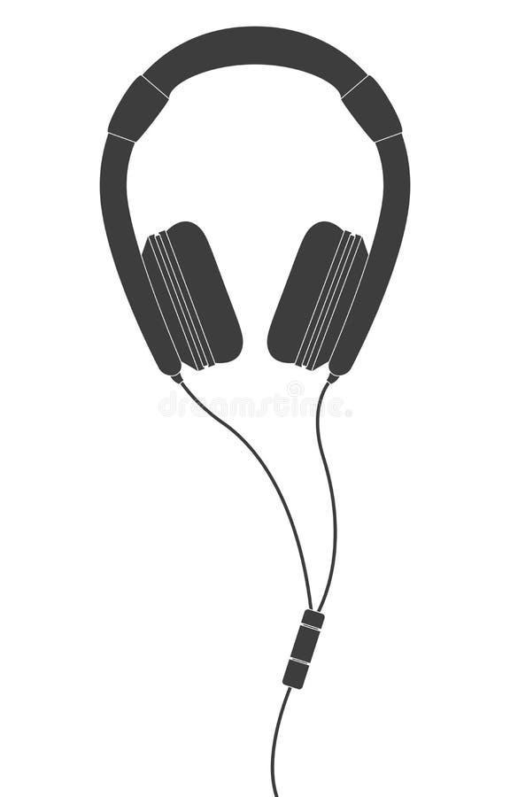 Svart hörlurar vektor illustrationer