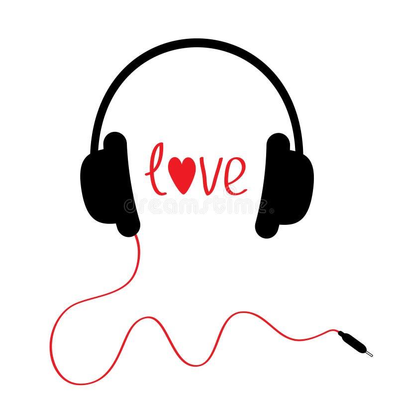 Svart hörlurar med röd kabel. Isolerat. Förälskelsekort. stock illustrationer