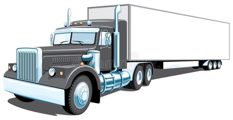 svart halv lastbil royaltyfri illustrationer