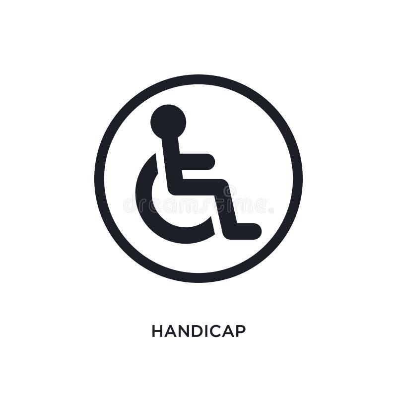 svart handikapp isolerad vektorsymbol den enkla beståndsdelillustrationen från trafik undertecknar begreppsvektorsymboler rediger stock illustrationer