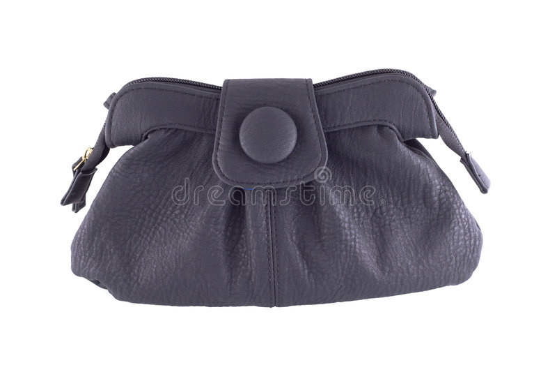 svart handväskaläder royaltyfri fotografi