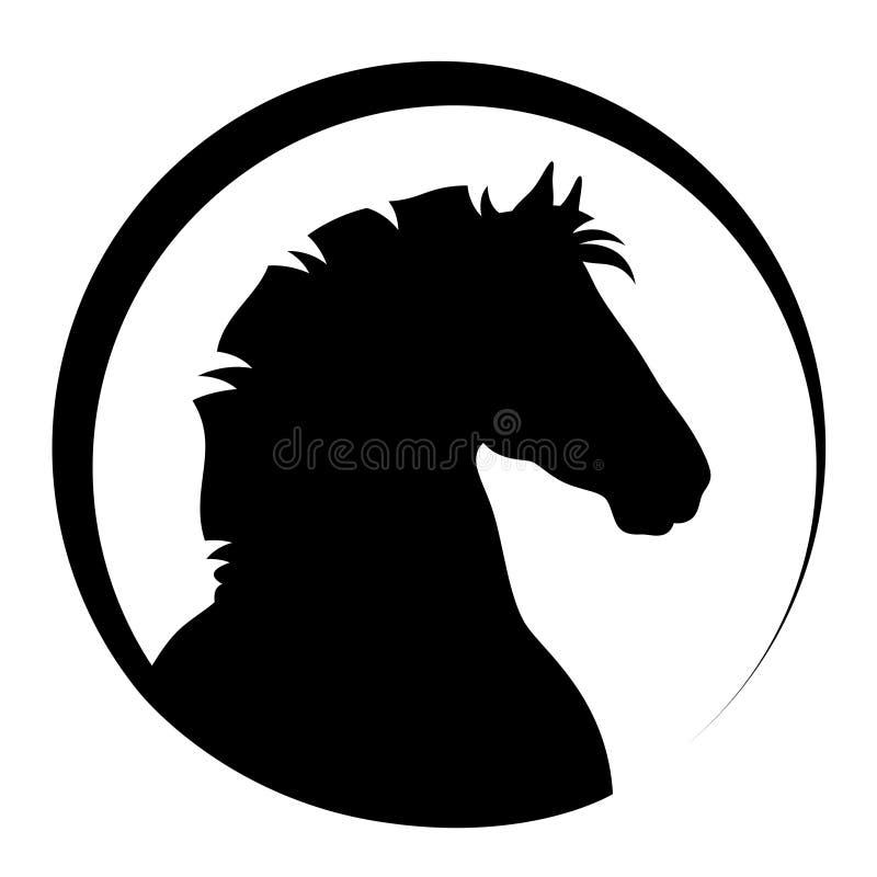 svart head häst royaltyfri illustrationer
