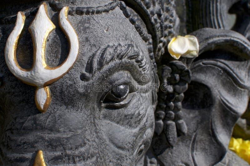 Svart headshot för Ganesha stenstaty royaltyfria foton