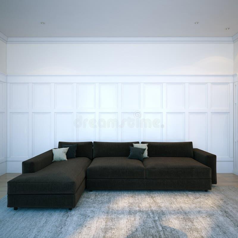 Svart hemtrevlig soffa i modernt inre rum med ädelträdurken royaltyfri foto
