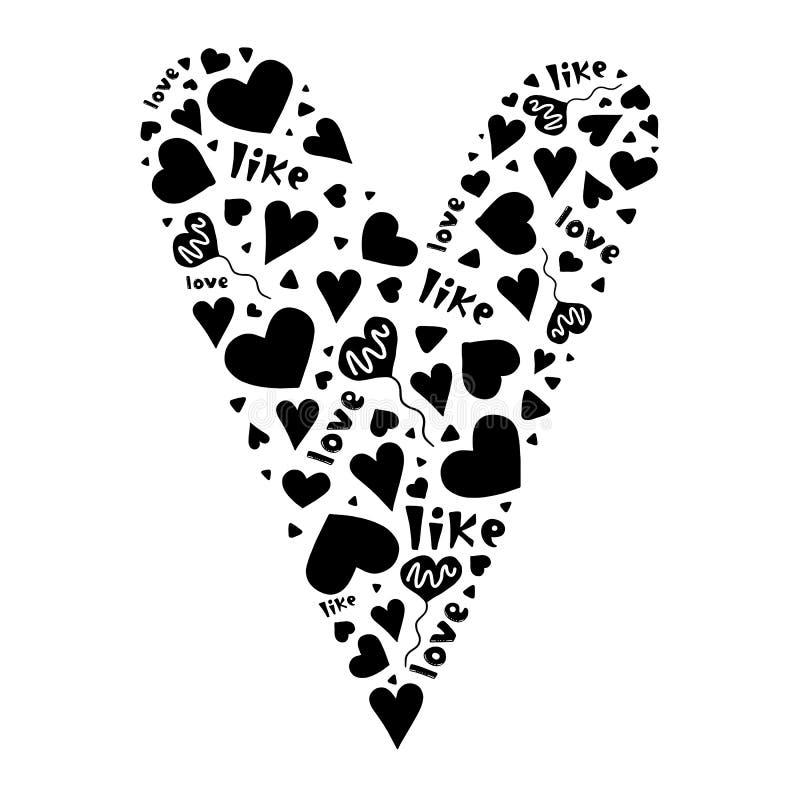 Svart hjärta av gulliga hjärtor, ord och ballonger vektor illustrationer