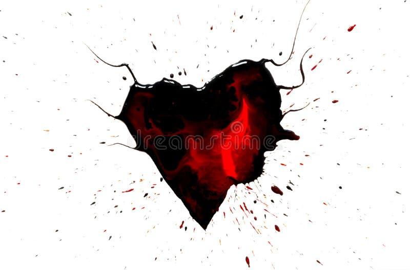 Svart hjärta med horn med röda droppar och fläckar och svart målarfärgsprej som isoleras omkring på vit vektor illustrationer