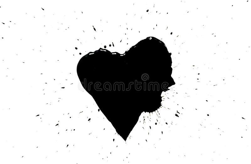 Svart hjärta med svart målarfärg plaskar omkring isolerat på vit arkivfoton