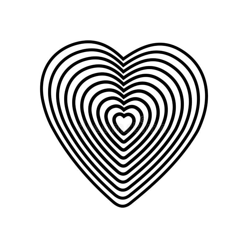 Svart hjärta på vit bakgrund Optisk illusion av tredimensionell volym 3D pennor in för blyertspenna för illustratör för tecknad f vektor illustrationer