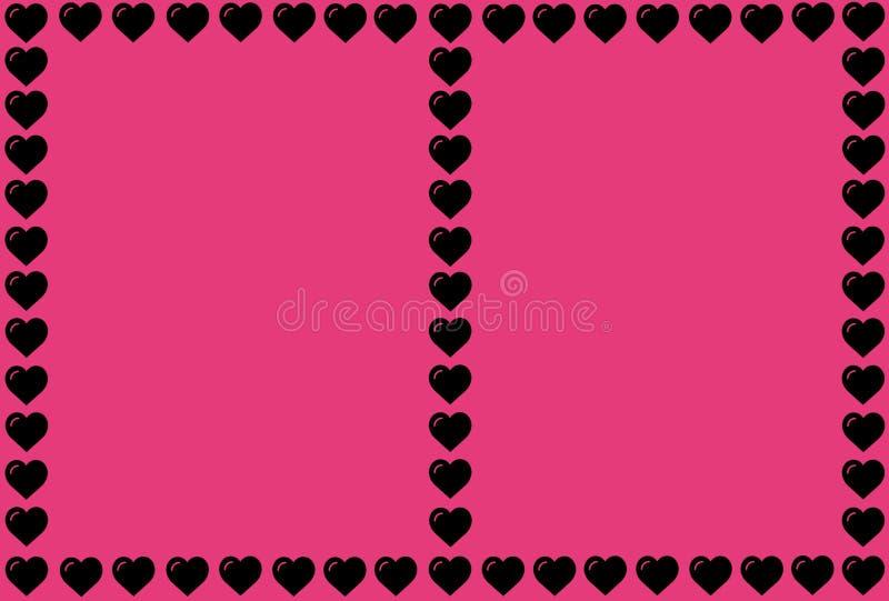 Svart hjärta Shape på rosa bakgrund Hjärtor Dot Design Användas för artiklar och att skriva ut, kan illustrationavsikt, bakgrund, fotografering för bildbyråer
