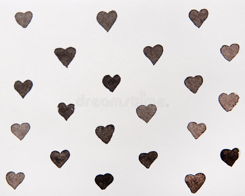 Svart hjärtavattenfärg stock illustrationer