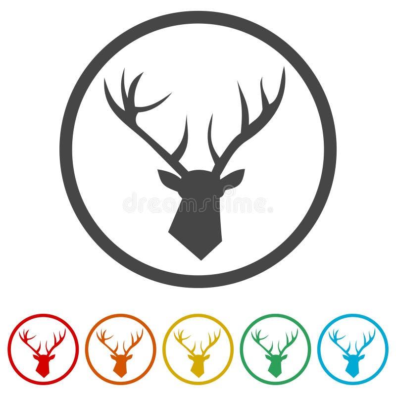 Svart hjorthuvud för vektor, vektorbild av ett hjorthuvud, 6 inklusive färger royaltyfri illustrationer