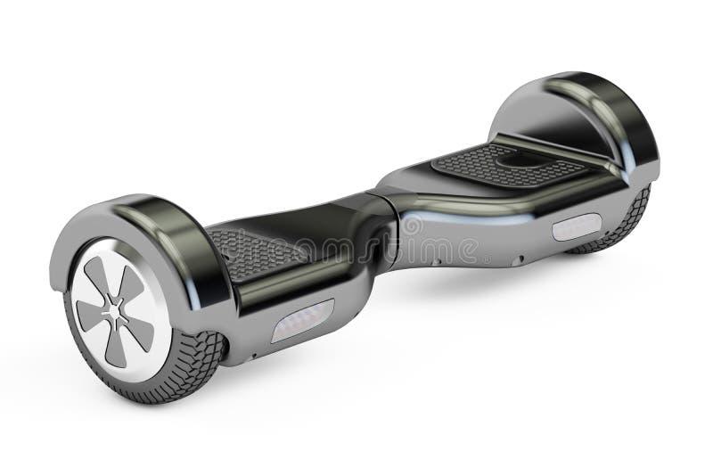 Svart hoverboard- eller själv-balansera sparkcykel, tolkning 3D vektor illustrationer