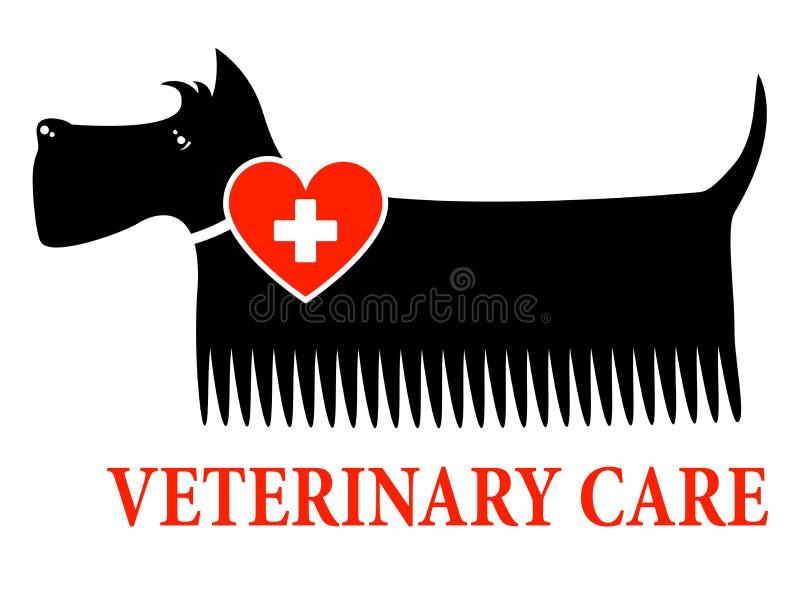 Svart hund med det veterinär- omsorgtecknet royaltyfri illustrationer