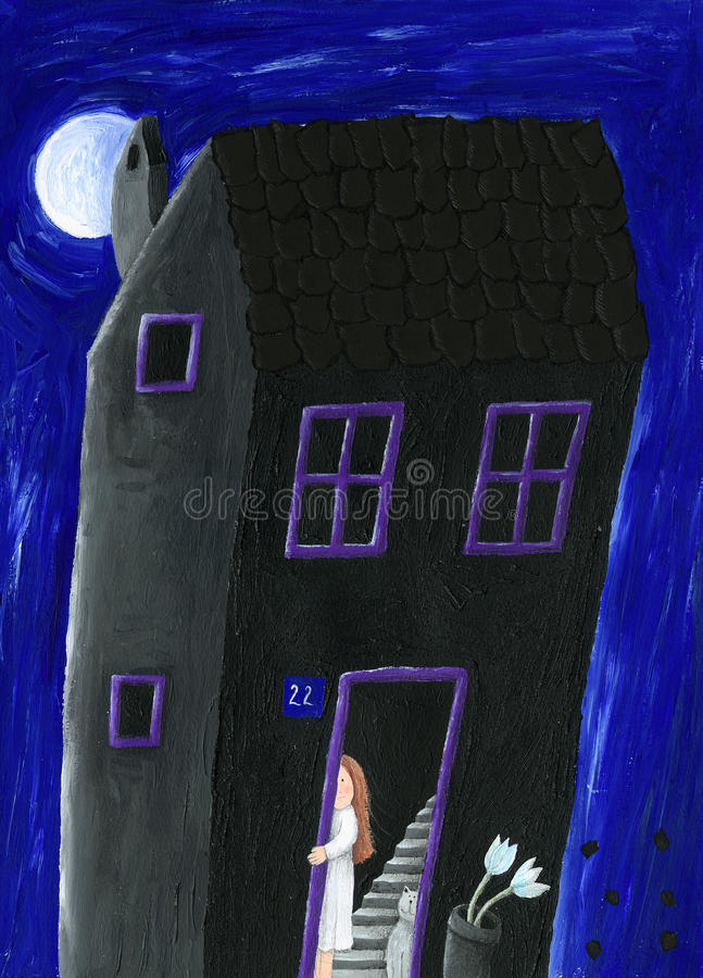 svart hus royaltyfri illustrationer