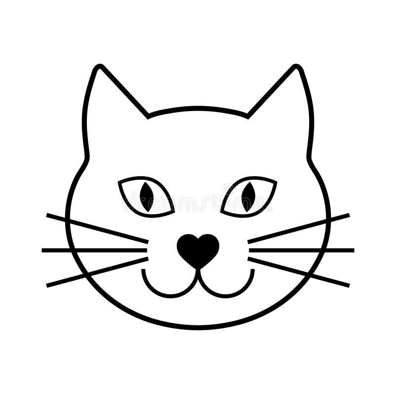Svart huvud av en katt på en vit bakgrund illustration Gullig symbol Djur kontur royaltyfri illustrationer