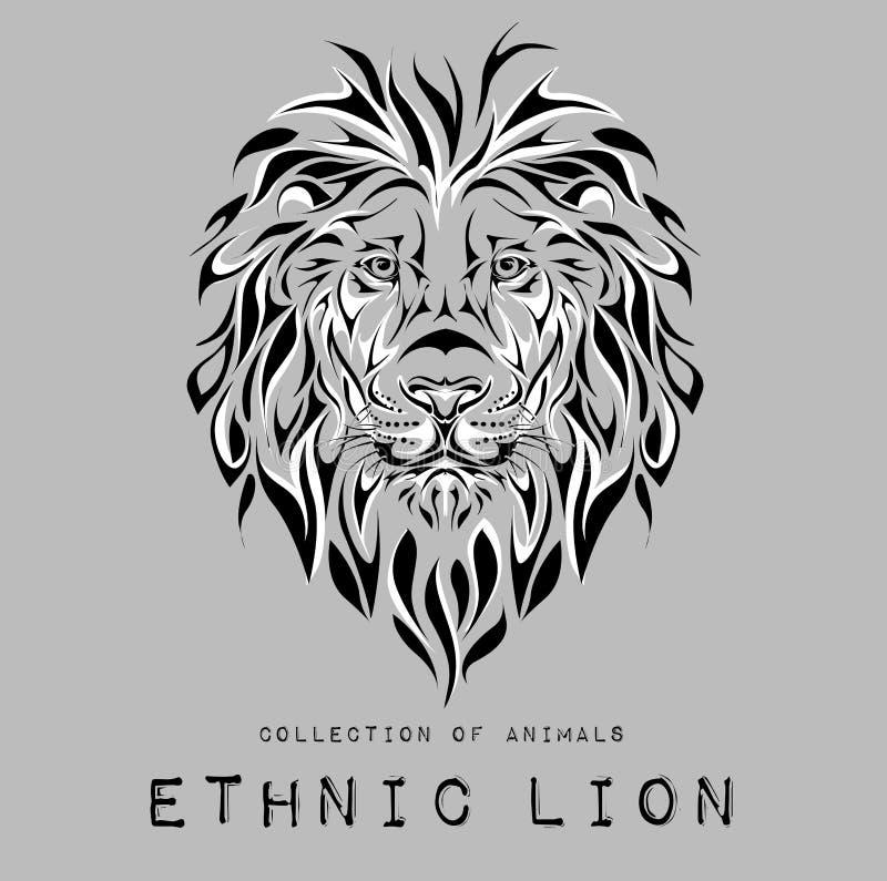 Svart huvud för person som tillhör en etnisk minoritet av lejonet på grå färger totem-/tatueringdesign Bruk för trycket, affische royaltyfri illustrationer