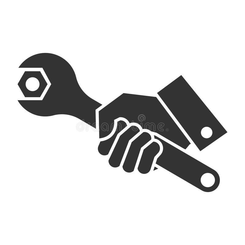 Svart illustration av handinnehavskiftnyckeln royaltyfri illustrationer