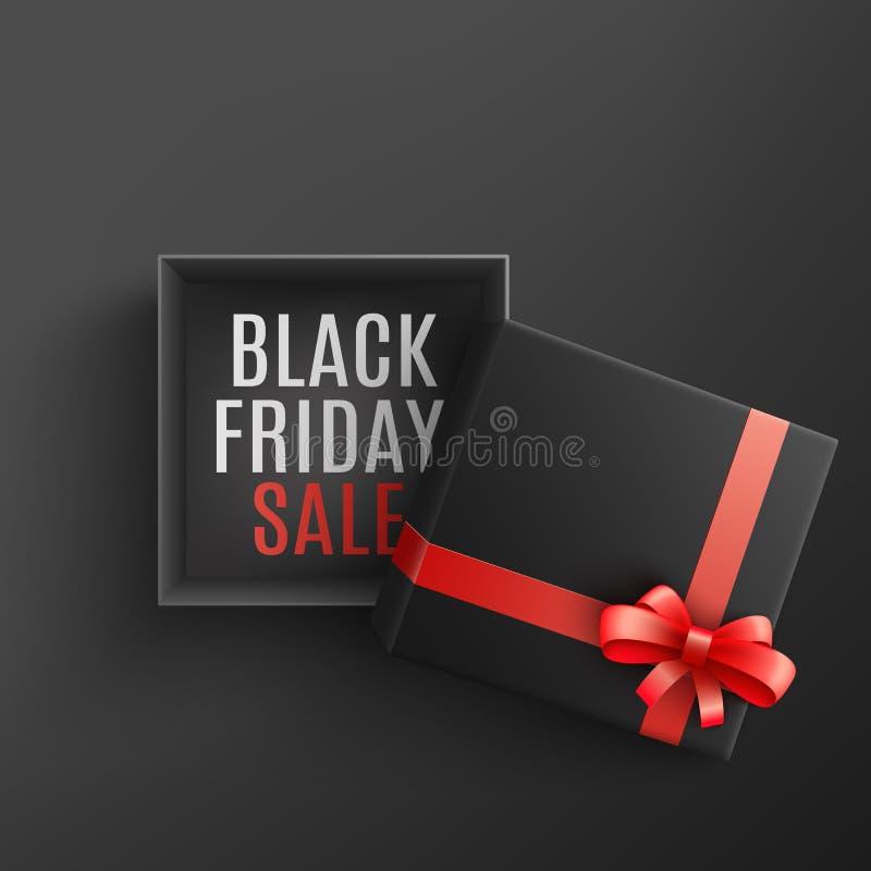 Svart illustration för fredag försäljningsvektor med den öppna gåvaasken med tecknet på botten och rött band och pilbåge royaltyfri illustrationer