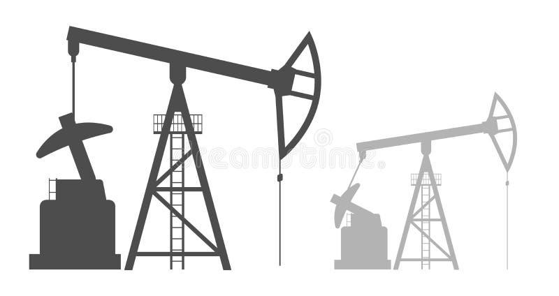 Svart illustration för vektor av den olje- pumpen på vit vektor illustrationer